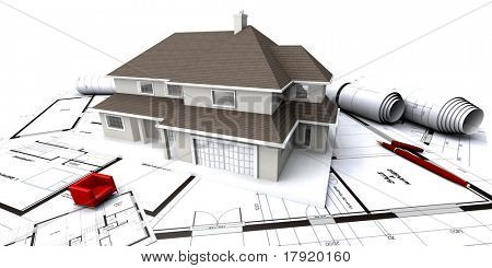 House mockup on architect's blueprints with rolled-up plans and a miniature red seat