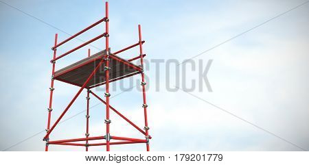 Three dimensional image of red scaffolding against blue sky with clouds 3d