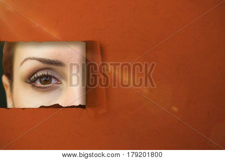 Close-up portrait of woman face against green background with vignette 3d