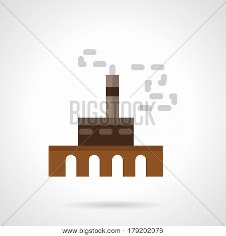 Brown factory or plant with tower and chimney. Heavy industry building symbol. Flat color style vector icon.
