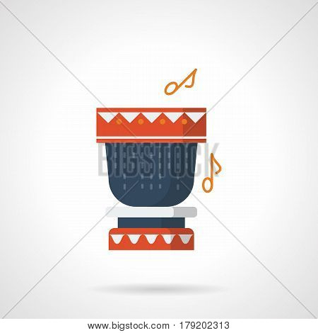 Symbol of blue drum with red ornament and two notes. Percussion instruments for festivals, party. Flat color style vector icon.