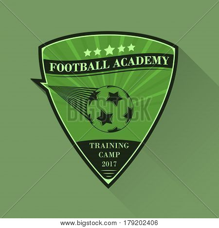 Soccer Vector Logo Design. Football Logotype In Flat Style With Long Shadow. Football Academy, Train