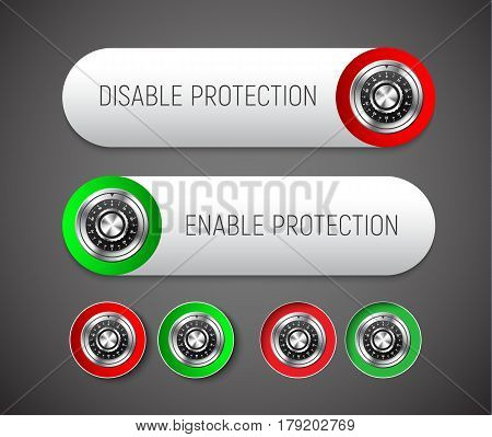 Design A Round And Rectangular Button With Rounded Corners To Enable And Disable Protection.