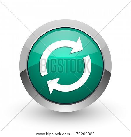 Reload silver metallic chrome web design green round internet icon with shadow on white background.