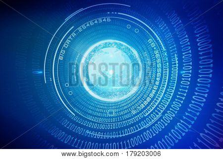 Digital image of globe with big data text against spiral of shiny binary code 3d
