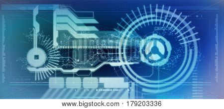 Technology interface against genes diagram on white background