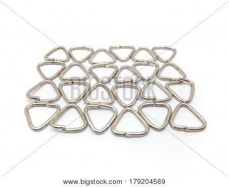 Stainless Steel Loop For Keychain On White Background