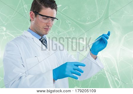 Doctor in medical gloves filling the test tube against graphic image of blue virus 3d