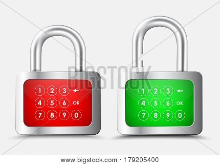 Metal Rectangular Padlock With A Red And Green Display With A Numeric Keypad