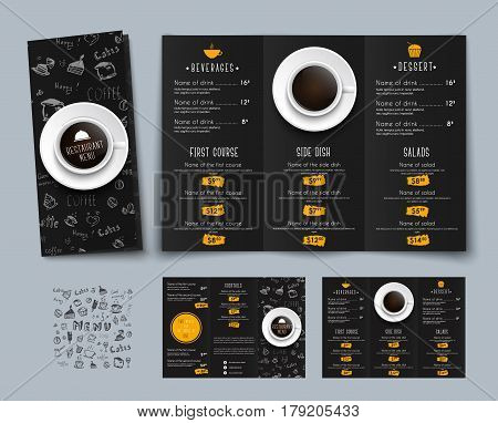 Design Of A Triple Black Menu For Cafes And Restaurants.