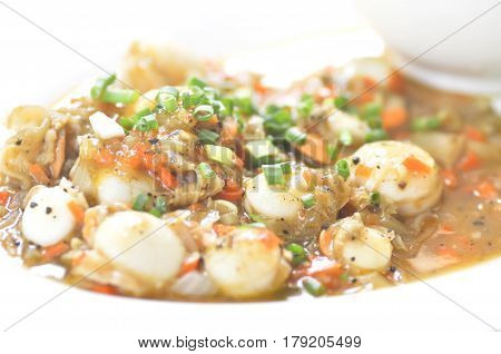 stired fried scallop dish , stired fried shell