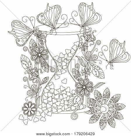 Monochrome doodle hand drawn hourglass with harts, flowers  and butterfly. Anti stress stock vector illustration