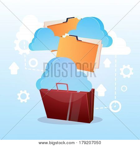 Open Briefcase Paper Document Cloud Storage Database Business Concept Flat Vector Illustration