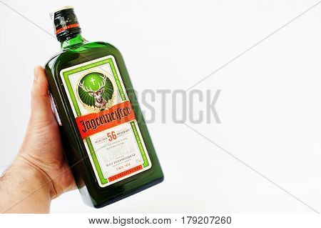 Hai, Ukraine -14 March 2017: Jagermeister German Digestif Made With 56 Herbs And Spices At Hand Of M