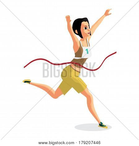 Young female athlete with the number will finish in the race. Vector flat cartoon illustration isolated on a white background