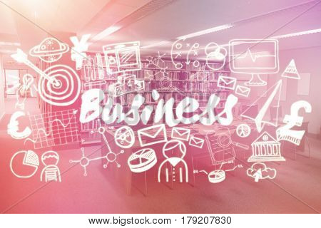Composite image of business text surrounded with computer icons against computer desks in the library 3d