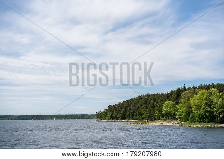 Peaceful view of one of 30000 islands of Stockholm archipelago on a sunny day