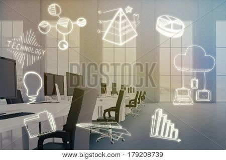 Composite image of computer icons on white background against empty office with desks and computers 3d