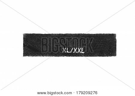 XL size clothes label on white background