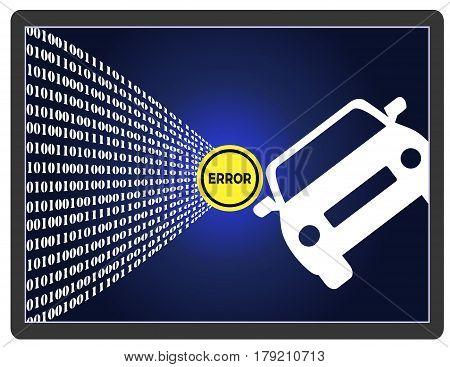 Self-Driving Car Error. Traffic accident of autonomous vehicle through software failures