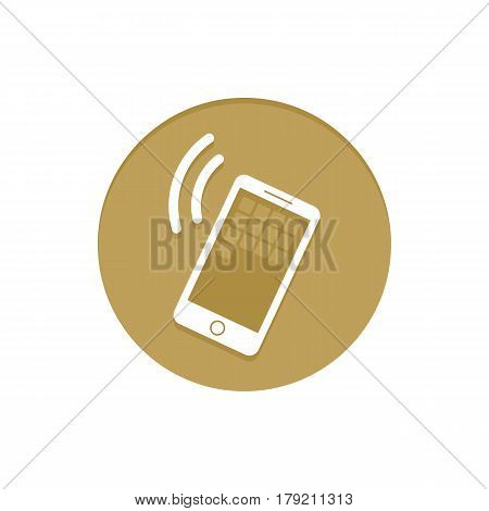 Gold Vector Icon Calling Smartphone. Golden web icons collection item. Icon symbo vector illustration