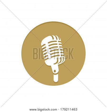 Gold Vector Icon Microphone. Golden web icons collection item. Icon symbo vector illustration