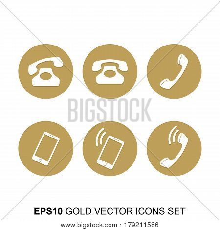 Gold Vector Phone Icons Set. Golden web icons collection item. Icon symbo vector illustration