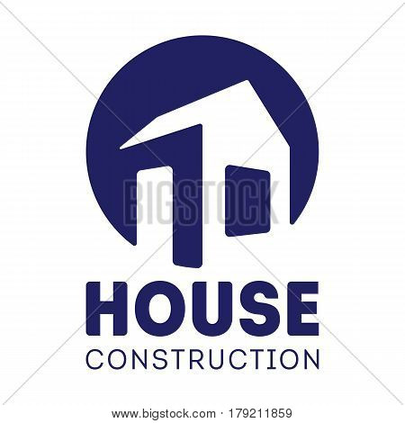 House Construction label design with hand drawn house. House Logotype. Vector illustration isolated on white