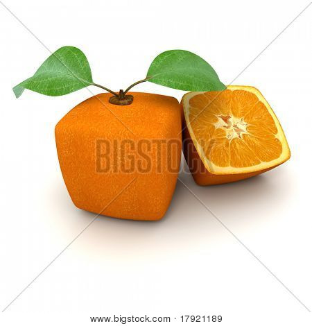 3D rendering of a cubic orange fruit and a half