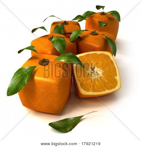 Composition of cubic oranges on a white background