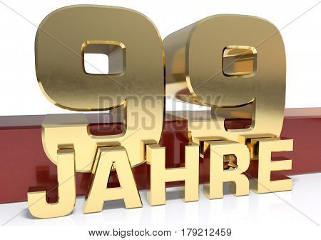 Golden digit ninety nine and the word of the year. Translated from the German - years.3D illustration