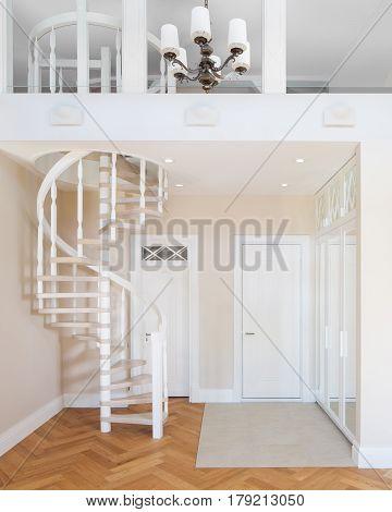 Interior of corridor in new designer duplex apartment