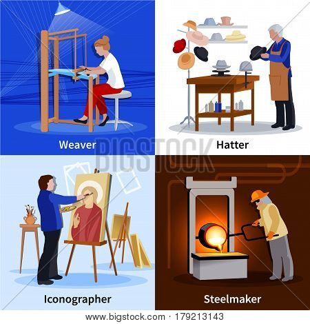 Contemporary craftspeople at work 4 flat icons square composition with weaver hatter and steelmaker isolated vector illustration