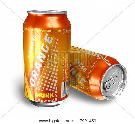 Orange soda drinks in metal cans