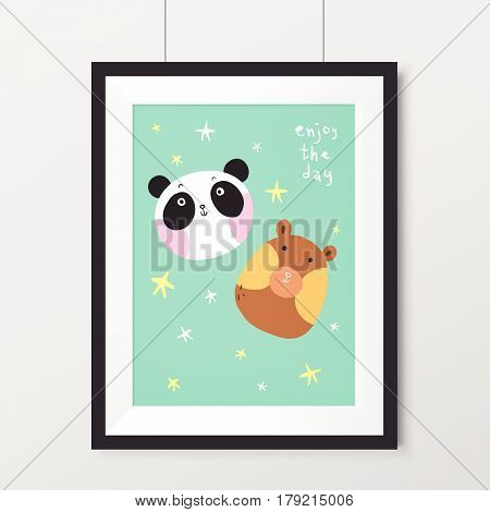 Adorable Painting With Lovely Bear And Panda