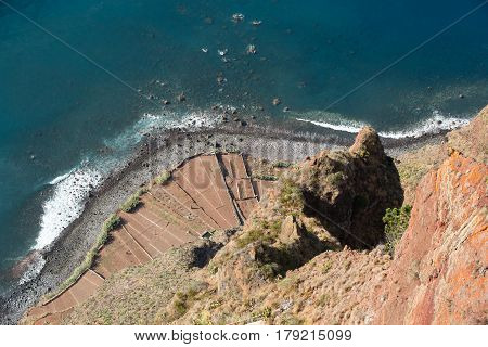 The cliff face of Cabo Girao as seen straight down from viewpoint. Madeira. Portugal