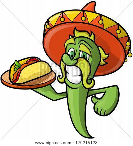 Mexican Cheerful chilli peppers in a sombrero keeps a tray with tacos.