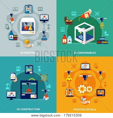 Volumetric printing 2x2 design concept with printing details consumables and 3d construction flat compositions vector illustration