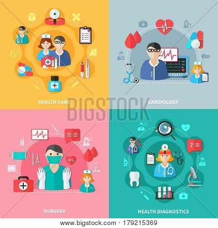 Medicine flat design concept with health care diagnostics surgery and cardiology doctors and tools isolated vector illustration