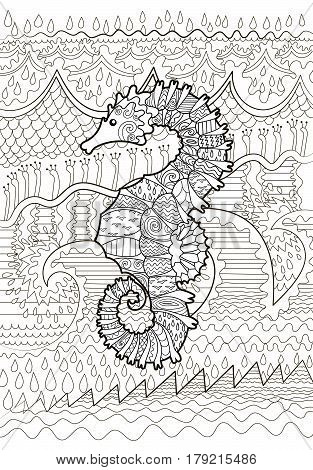Hand drawn swimming sea horse with high details for anti stress coloring page, illustration in tracery style. Vector.