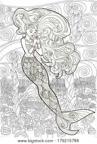 Patterned illustration of a mermaid in the zentangle style. Drawing with a beautiful underwater girl with high details. Adult antistress coloring page. Colouring book for grown ups. Vector