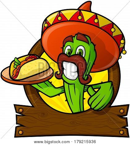 A cheerful cactus in a sombrero holds a tray In the frame for the logo.