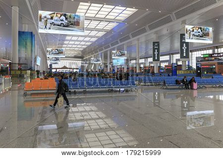 Kunming, China - March 29, 2017: Chinese People Inside The Newly Opened High Speed Train Station In