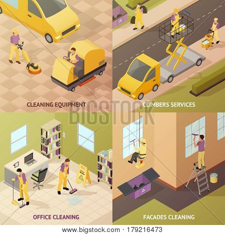 Four square isometric industrial cleaning concept with cleaning equipment climbers services office cleaning and facades cleaning descriptions vector illustration