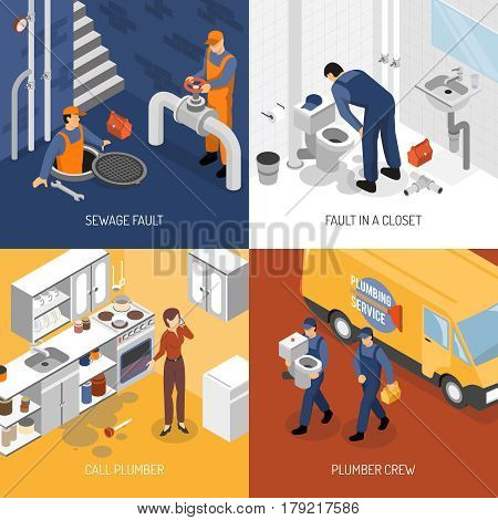 Plumber isometric design concept with square compositions of plumbing crew characters site visit and repair process vector illustration