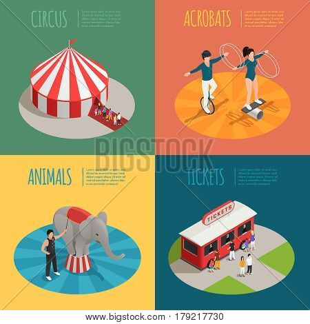 Circus 2x2 design concept with tent acrobats ticket cashier trailer and elephant trainer square compositions isometric vector illustration