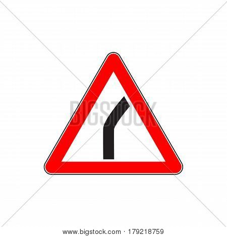 Red Dangerous turn sign - Danger Triangle Road sign isolated on white background