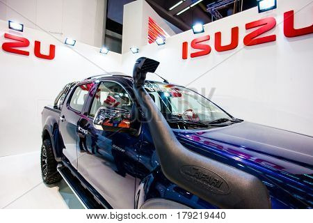 BELGRADE, SERBIA - MARCH 28, 2017 Belgrade Car Show  Isuzu D-MAX Crew Cab Urban Monster