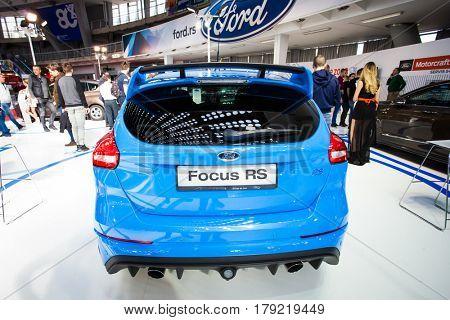 BELGRADE, SERBIA - MARCH 28, 2017 Belgrade Car Show Ford Focus RS
