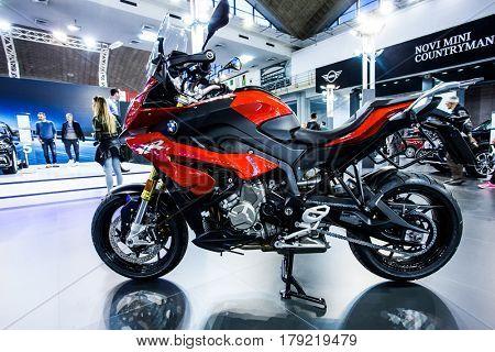 BELGRADE, SERBIA - MARCH 28, 2017 Belgrade Car Show  BMW S1000XR motorcycle  sport tourer